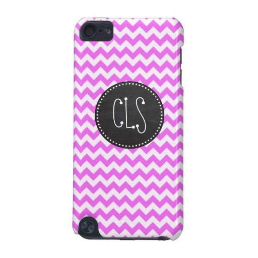 Fuchsia Pink Chevron Stripes; Chalkboard look iPod Touch (5th Generation) Covers
