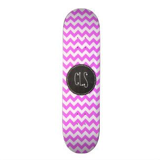 Fuchsia Pink Chevron Stripes Chalkboard look Skate Board Decks