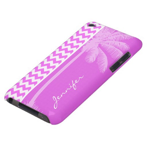 Fuchsia Pink Chevron Stripes; Summer Palm Barely There iPod Cover