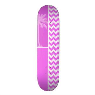 Fuchsia Pink Chevron Stripes Summer Palm Skate Board Decks