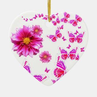 Fuchsia Pink Dahlia's & Butterflies white Pattern Christmas Ornament