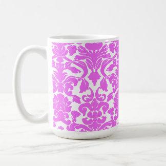 Fuchsia Pink Damask Basic White Mug