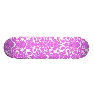 Fuchsia Pink Damask Custom Skateboard
