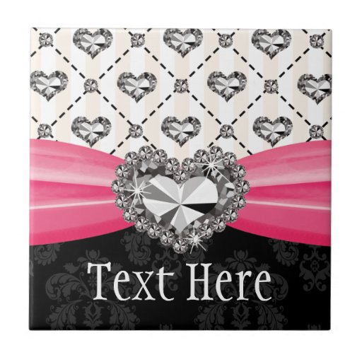 Fuchsia Pink Diamond Heart Ceramic Tile Trivet