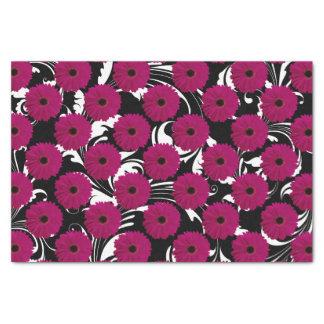 Fuchsia Pink Gerbera Daisy Black/White Swirl Girly Tissue Paper