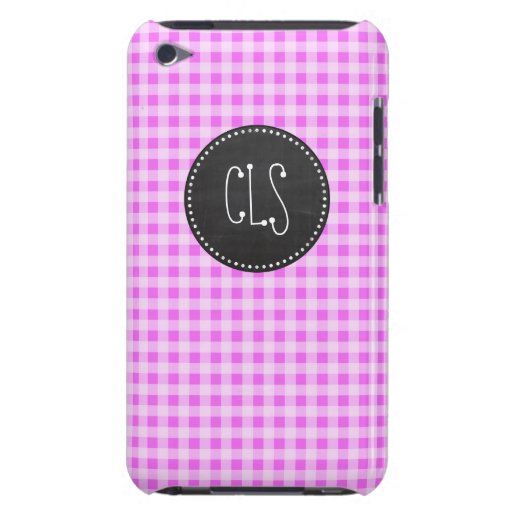 Fuchsia Pink Gingham; Vintage Chalkboard Barely There iPod Case