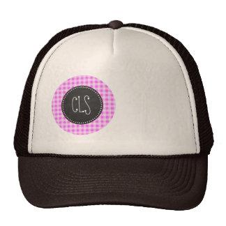Fuchsia Pink Gingham; Vintage Chalkboard Hat