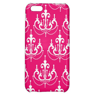 FUCHSIA PINK GIRLY CHANDELIER PATTERN COVER FOR iPhone 5C