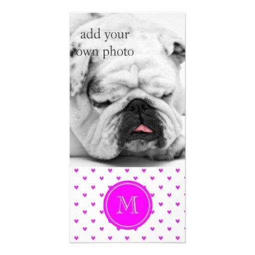 Fuchsia Pink Glitter Hearts with Monogram Custom Photo Card
