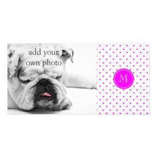 Fuchsia Pink Glitter Hearts with Monogram Photo Card