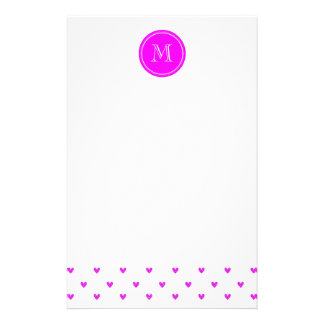 Fuchsia Pink Glitter Hearts with Monogram Stationery