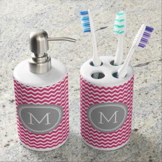 Fuchsia Pink Grey Chevron Pattern Bathroom Set
