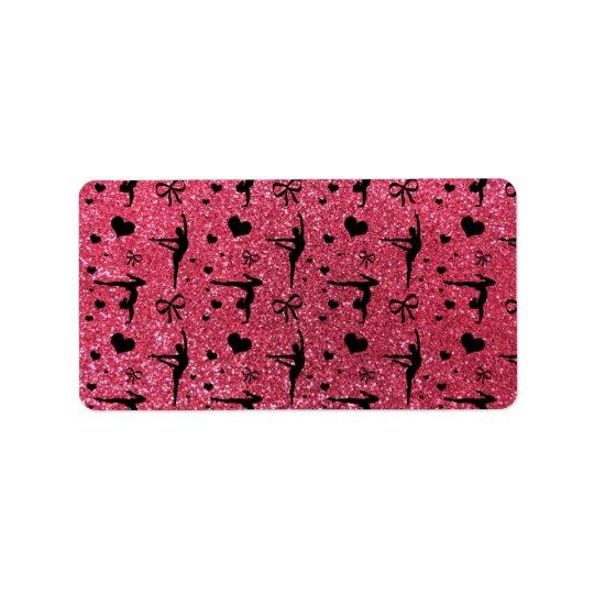 Fuchsia pink gymnastics glitter pattern address label