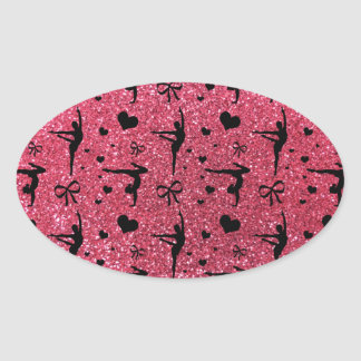 Fuchsia pink gymnastics glitter pattern oval sticker