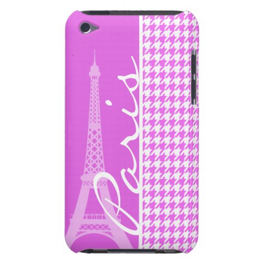 Fuchsia Pink Houndstooth; Paris iPod Touch Cover