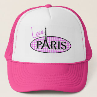 Fuchsia Pink Houndstooth; Paris Trucker Hat