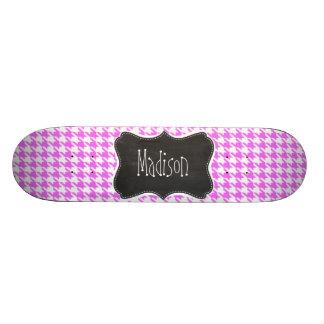 Fuchsia Pink Houndstooth Skateboard Decks