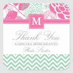 Fuchsia Pink Mint Green Chevron Floral Monogrammed Square Sticker