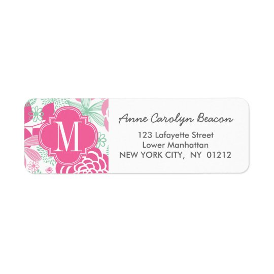 Fuchsia Pink Mint Green Girly Floral Personalised Return Address Label