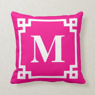 Fuchsia Pink Modern Greek Key Border Monogram Cushion