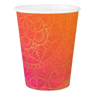 Fuchsia Pink Orange & Gold Indian Mandala Party Paper Cup