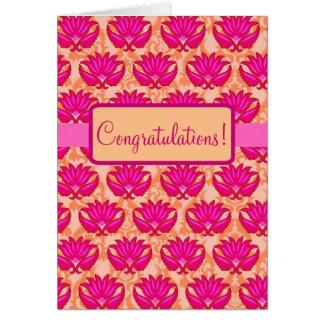 Fuchsia Pink Orange Parisian Damask Congratulation Card