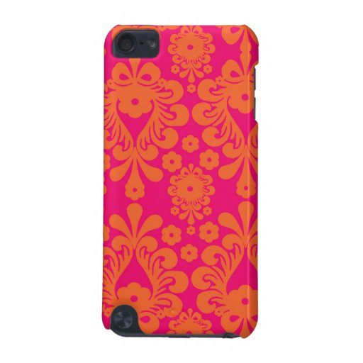 Fuchsia Pink Orange Vintage Damask Pattern iPod Touch (5th Generation) Covers