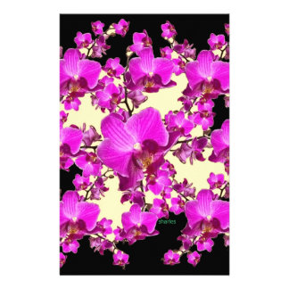 Fuchsia Pink Orchids Cream & Black Pattern Gifts Stationery Design