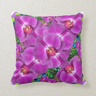Fuchsia-Pink Orchids Quatre  Green Pattern Throw Pillow