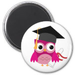 Fuchsia Pink Owl with Diploma Graduation Magnet