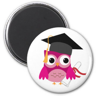 Fuchsia Pink Owl with Diploma Graduation Magnet