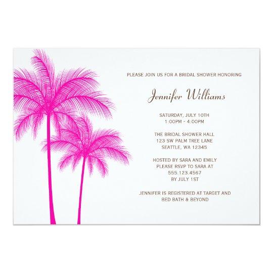 Fuchsia Pink Palm Tree Bridal Shower Card