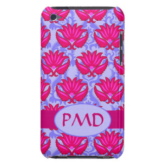 Fuchsia Pink Purple Art Nouveau Damask Monogram Case-Mate iPod Touch Case