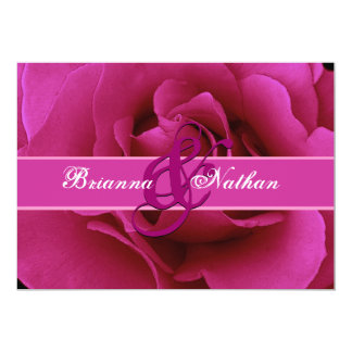 Fuchsia Pink Rose and Ribbon Wedding Invite