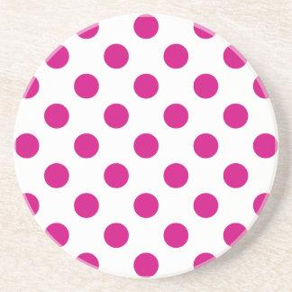 Fuchsia polka dots beverage coasters