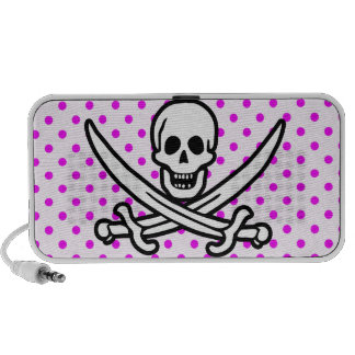 Fuchsia Polka Dots Jolly Roger Portable Speakers
