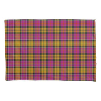 Fuchsia Purple and Gold Culloden Scottish Tartan Pillowcase