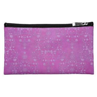 Fuchsia Purple Floral Damask Pattern Cosmetics Bags