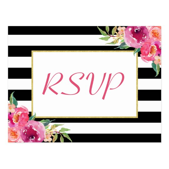 Fuchsia Purple Red Floral Gold Wedding RSVP Reply