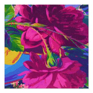 Fuchsia Roses 13 Cm X 13 Cm Square Invitation Card
