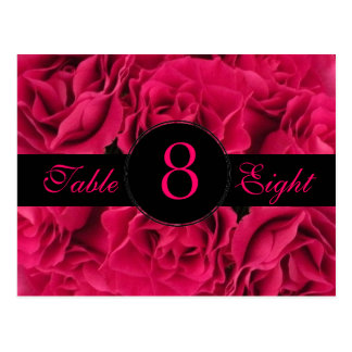 Fuchsia Roses Table Number Card