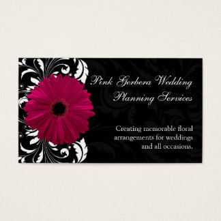 Fuchsia Scroll Gerbera Daisy w/Black and White Business Card