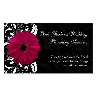 Fuchsia Scroll Gerbera Daisy w Black and White Business Card Template