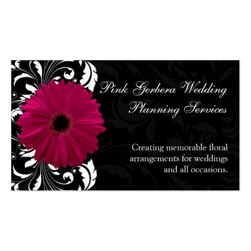 Fuchsia Scroll Gerbera Daisy w/Black and White Business Card Template