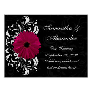 Fuchsia Scroll Gerbera Daisy w/Black and White Poster