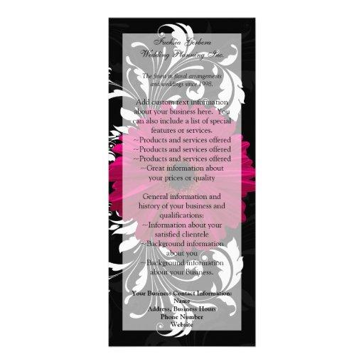 Fuchsia Scroll Gerbera Daisy w/Black and White Custom Rack Cards