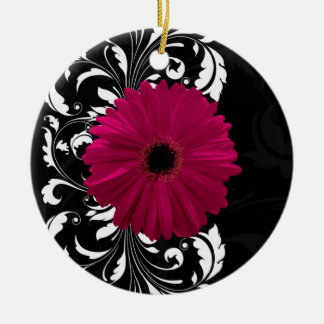 Fuchsia Scroll Gerbera Daisy w/Black and White Round Ceramic Decoration