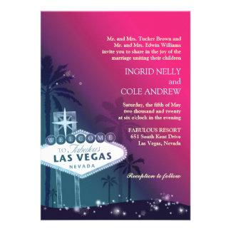 Fuchsia, Sea Green Las Vegas Nevada Wedding Invite