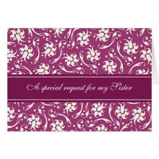 Fuchsia Sister Matron of Honor Invitation Card