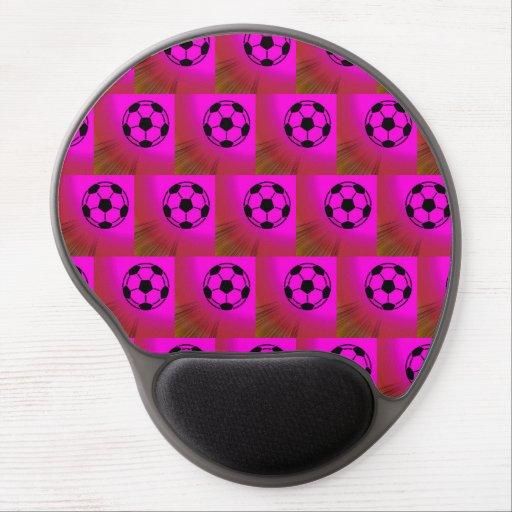 Fuchsia soccer balls gel mouse mats